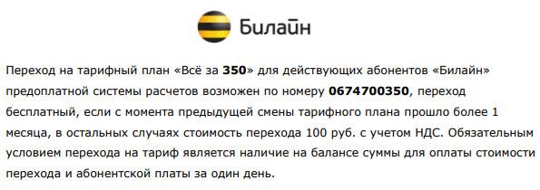 абонентская плата 350